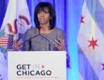 PHOTO: First lady Michelle Obama speaks about 15-year-old Hadiya Pendleton who was shot and killed on the south side of Chicago earlier this year during a luncheon at the Chicago Hilton in Chicago, April 10, 2013.