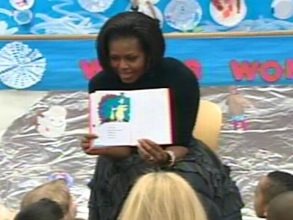 Video of First Lady Michelle Obama reading Dr. Seuss Green Eggs and Ham.