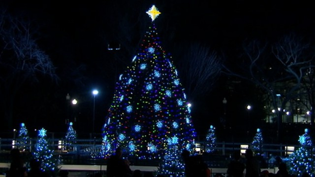 VIDEO: The president continues White House tradition with new 26-foot-tall tree.