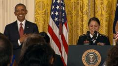 The president comforted a woman who misspoke at a naturalization ceremony at the White House.