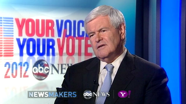 PHOTO: GOP Candidate Newt Gingrich gives an exclusive interview to ABC News Jake Tapper, Nov. 8, 2011.