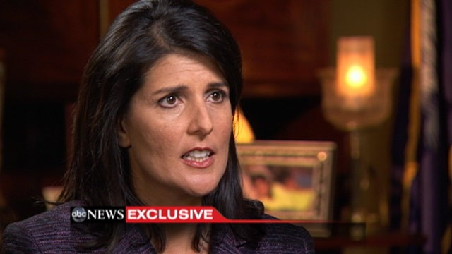 PHOTO: South Carolina Gov. Nikki Haley is interviewed by Cynthia McFadden, Friday, March 30, 2012.