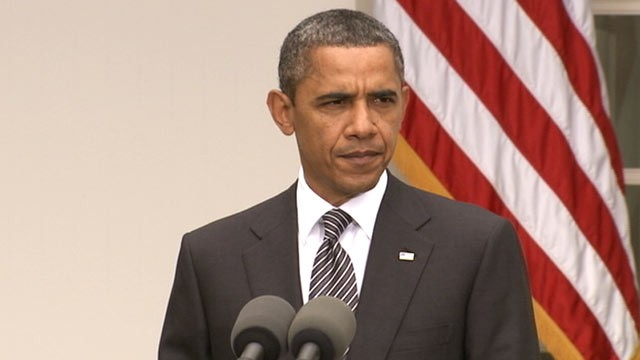 PHOTO: US President Barack Obama delivers remarks on Gadhafi's death, Oct. 2011.