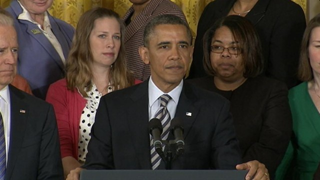 VIDEO: President Obama stands with Newtown victims families, calling for passage of gun legislation.