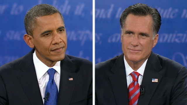 PHOTO: President Barack Obama and Republican presidential nominee Mitt Romney take part in the third presidential debate at Lynn University, Oct. 22, 2012, in Boca Raton, Fla.