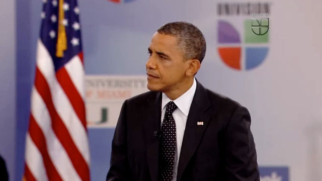 PHOTO: President Obama is interviewed on Univision on September 20, 2012.