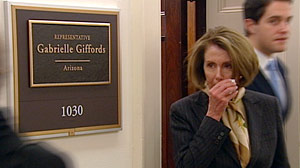 PHOTO: Leader Pelosi Visits Rep. Giffords Congressional Office, Wipes Away a Tear