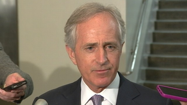 Sen. Corker talks to the press after his meeting with UN Ambassador Susan Rice.