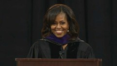VIDEO: First lady of the United States recieves a rousing ovation from graduates at Bowie University.