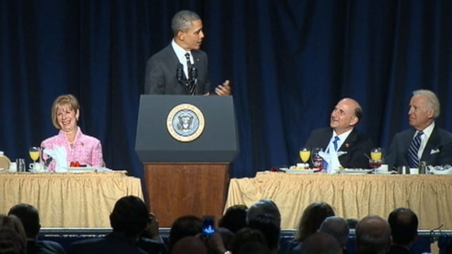 The president jokes with his Republican critic at the annual National Prayer Breakfast.