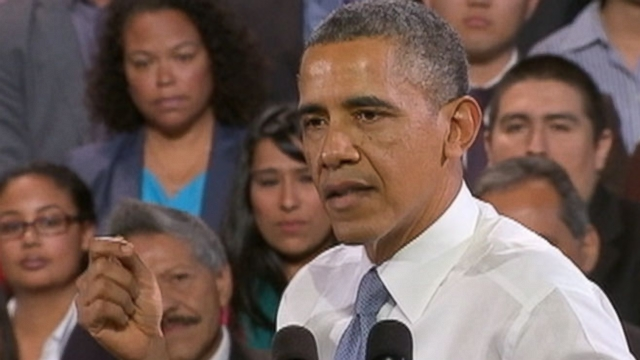 VIDEO: Heckler Behind Obama Steals Attention Away From Presidents Speech