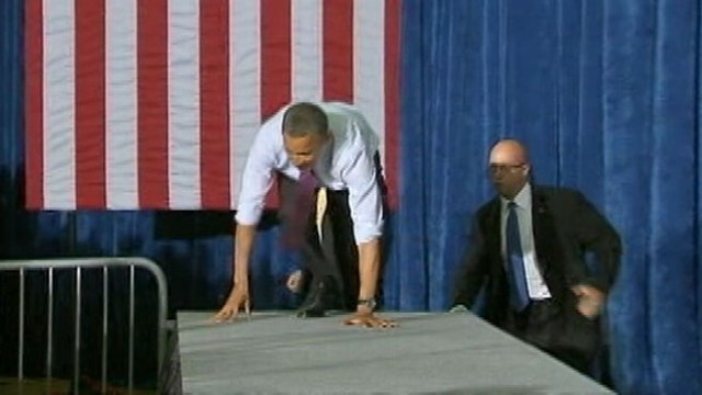 VIDEO: President Obama Trips at Tampa Fund Raiser