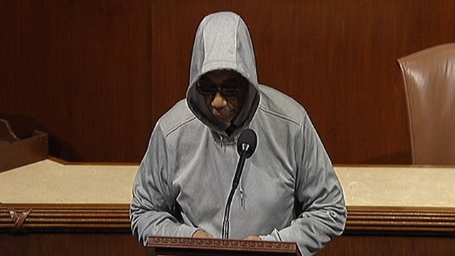VIDEO: Treyvon Martin: Congressman Dons Hoodie in Support