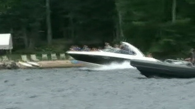 VIDEO: Mitt and Ann Romney Speedboat During Vacation