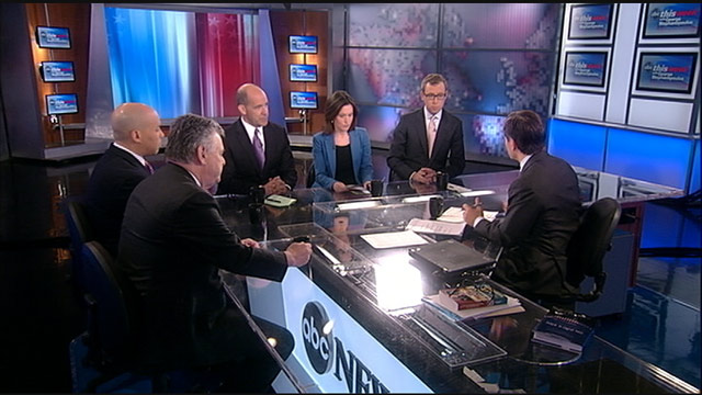 PHOTO: Newark, New Jersey Mayor Cory Booker (D), Representative Peter King, (R) New York, ABC News Political Analyst and Special Correspondent Matthew Dowd, The Nation editor and publisher and WashingtonPost.com columnist Katrina Vanden Heuvel, and ABC Ne
