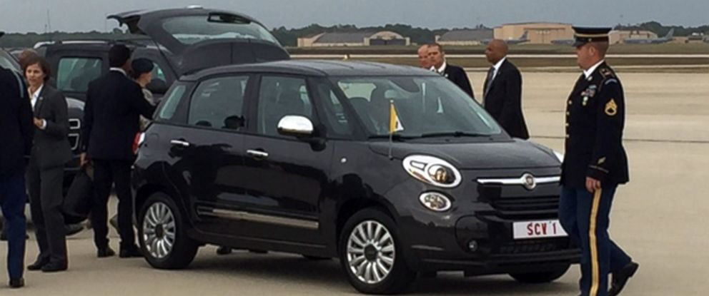 PHOTO: Pope Francis is transported from Joint Base Andrews in a Fiat after landing in the U.S., Sept. 22, 2015.