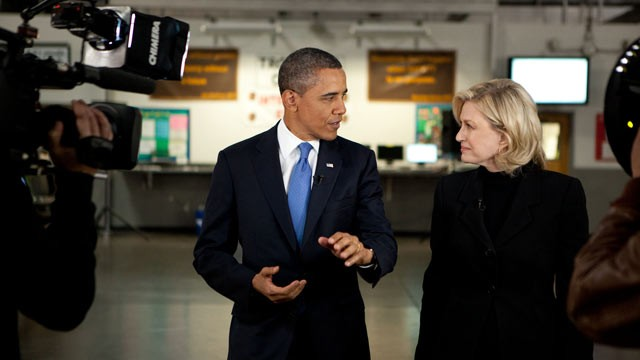 PHOTO: President Barack Obama during interview with Diane Sawyer of ABC News at UPS Las Vegas South hub in Las Vegas, Nevada, Jan. 26, 2012.
