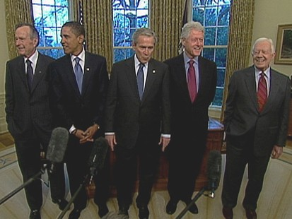 VIDEO: Bushes, Carter, Clinton and Obama bond over lunch.