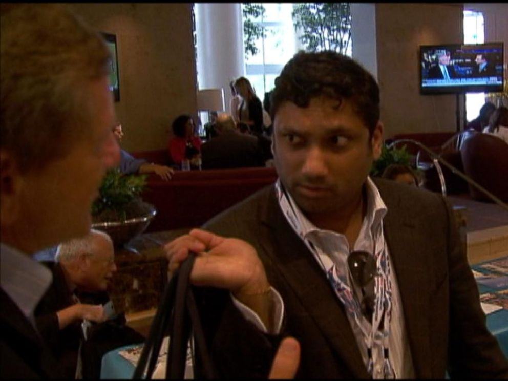PHOTO: At the 2012 Democratic National Convention, ABC News Brian Ross asks Rajiv Fernando about his 2011 appointment to the State Departments International Security Advisory Board.