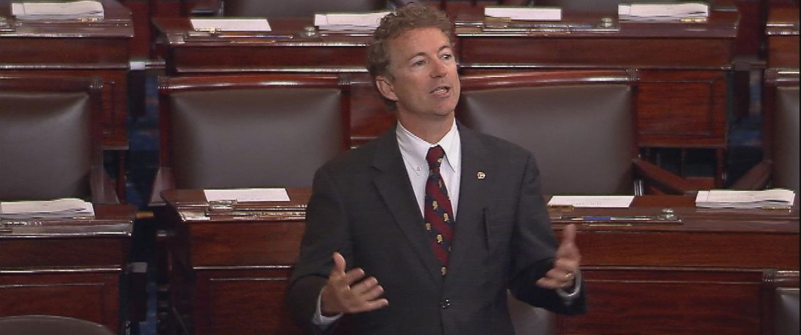PHOTO: Sen. Rand Paul gives an extended speech opposing the PATRIOT Act on the Senate floor in Washington, May 20, 2015.