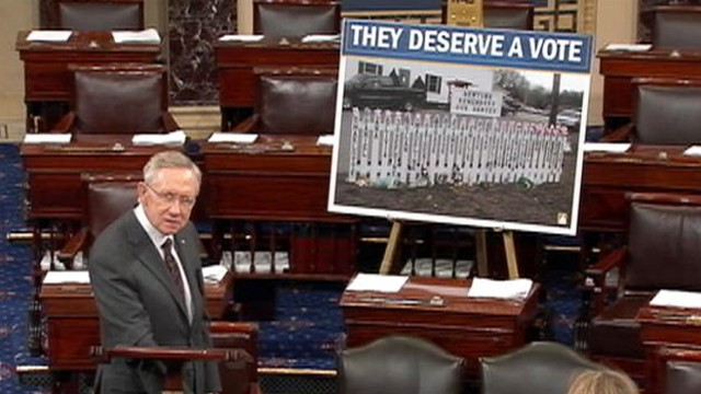 VIDEO: Sen. Harry Reid mentioned his fathers suicide and victims of Newtown in call for gun legislation.