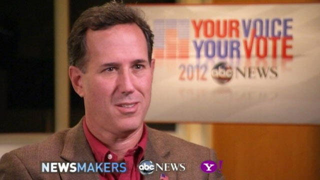 PHOTO: GOP Candidate Rick Santorum gives an exclusive interview to ABC News John Berman, Nov. 8, 2011.