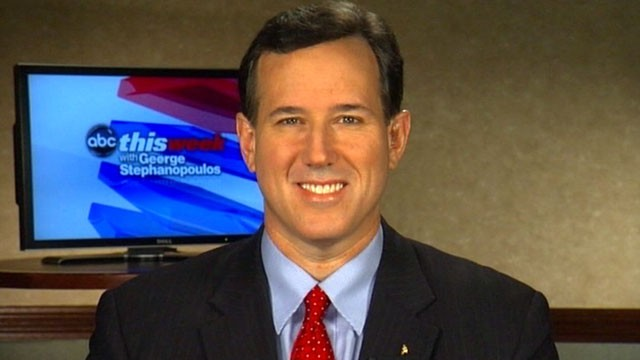 "PHOTO: Republican Presidential Candidate Rick Santorum on ""This Week"""