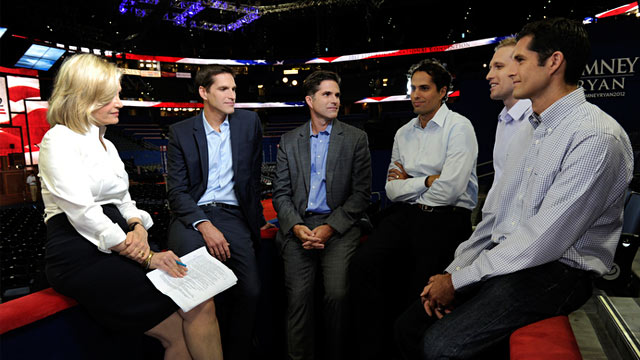 PHOTO: Diane Sawyer and Mitt Romneys sons