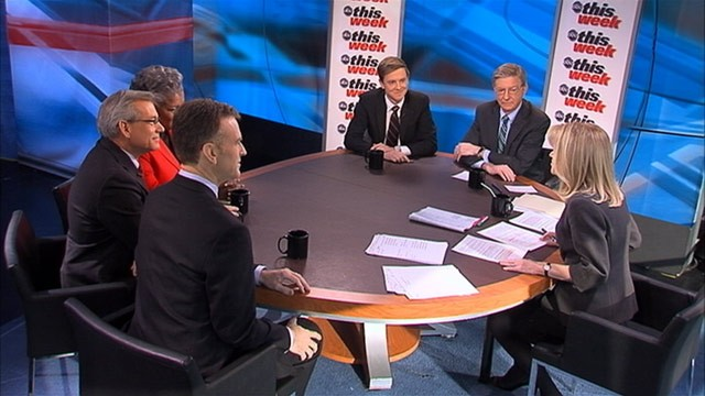 "PHOTO: ABC News George Will, Rep David Schweikert (R) Arizona, ABC News Contributor and Democratic Strategist Donna Brazile, NPRs ""Morning Edition"" Host Steve Inskeep, and Facebook Co-Founder and ""The New Republic"" owner and publisher Chris Hughes on T"