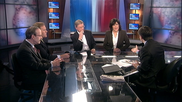 PHOTO: Intelligence Committee Chair Representative Mike Rogers, (R) Michigan, Foreign Affairs Committee Ranking Member Representative Eliot Engel (D) New York, ABC News George Will, and ABC News Global Affairs Anchor Christiane Amanpour on This Week