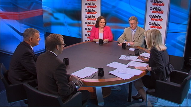 PHOTO: ABC News George Will, Former Vice Chair, Joint Chiefs of Staff General James Cartwright (USMC, Ret.), ABC News Chief White House Correspondent Jonathan Karl, The Washington Post columnist Ruth Marcus on This Week