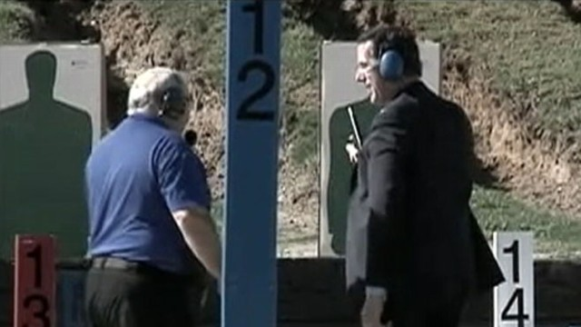 VIDEO: Woman says, Pretend its Obama as Rick Santorum shoots at firing range.