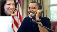 PHOTO President Barack Obama talks by phone with U.S. Supreme Court Justice nominee, Judge Sonia Sotomayor, shown in this inset file photo, from the Oval Office of the White House in Washington, July 12, 2009.