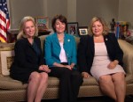PHOTO: Senator Kirsten Gillibrand (D) New York, Representative Kath McMorris Rodgers (R) Washington, and Representative Linda Sanchez (D) California on This Week