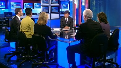 PHOTO: Wall Street Journal Editorial Page Editor Paul Gigot, Editor and Publisher, The Nation Katrina Vanden Huevel, Fox News Anchor Greta van Susteren, Maryland Representative Donna Edwards (D), and Illinois Representative Aaron Schock (R) on 'This Week'