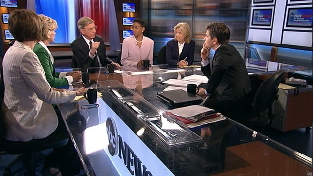 "PHOTO: ABC News' George Will, Rep. Donna Edwards, D-Md., Host of Current TV's ""The War Room"" and former Michigan Gov. Jennifer Granholm, Republican strategist Mary Matalin; and FOX News anchor Greta Van Susteren on ""This Week."""