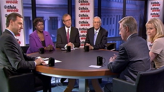 "PHOTO: Jake Tapper with Roundtable guests ABC News' George Will, Fox News Contributor and Co-Founder, Keep America Safe Liz Cheney, Former NATO Supreme Allied Commander Europe Ret. General Wesley Clark, Senior Correspondent, ""PBS NewsHour"" and Moderator a"