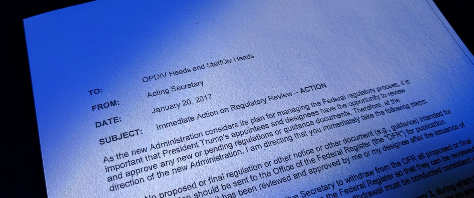 PHOTO: A memo circulating in the Department of Health and Human Services from the acting secretary restricts some communication by federal employees with public officials.