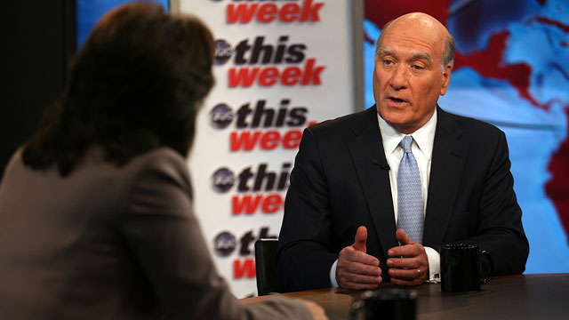 "PHOTO: White House Chief of Staff Bill Daley discuss""s the debt negotiations on ABC News ""This Week with Christiane Amanpour"""
