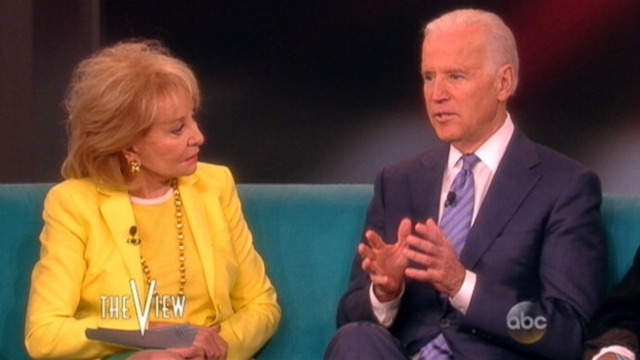 "The vice president tells ""The View"" his decision to run for president is not affected my Hillary Clintons."