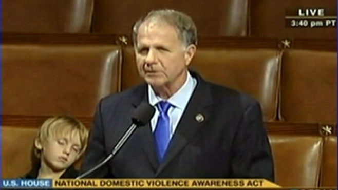VIDEO: Rep. Ted Poe (R-TX) delivers a speech while his grandson nods off.
