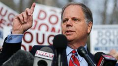 'PHOTO: Democratic candidate for U.S. Senate Doug Jones speaks to reporters after casting his ballot on Dec. 12, 2017, in Mountain Brook, Ala.' from the web at 'http://a.abcnews.com/images/Politics/alabama-election-04-ap-jc-171212_16x9t_240.jpg'