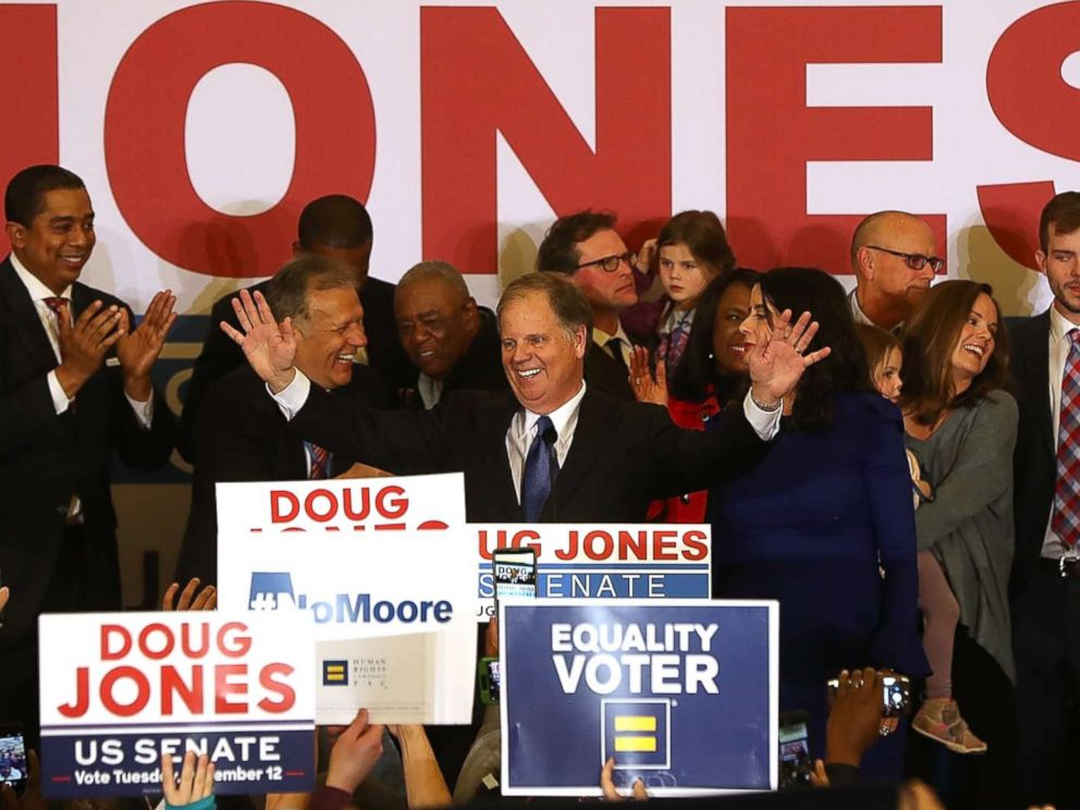 PHOTO: Senate candidate Doug Jones greets supporters during his election night gathering the Sheraton Hotel on Dec. 12, 2017 in Birmingham, Ala.