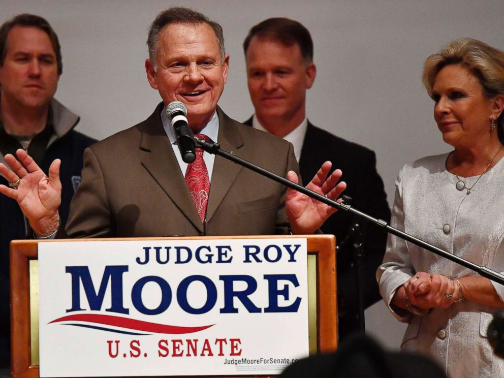 PHOTO: U.S. Senate candidate Roy Moore speaks as his wife looks son at the end of an election-night watch party at the RSA activity center, Dec. 12, 2017, in Montgomery, Ala.