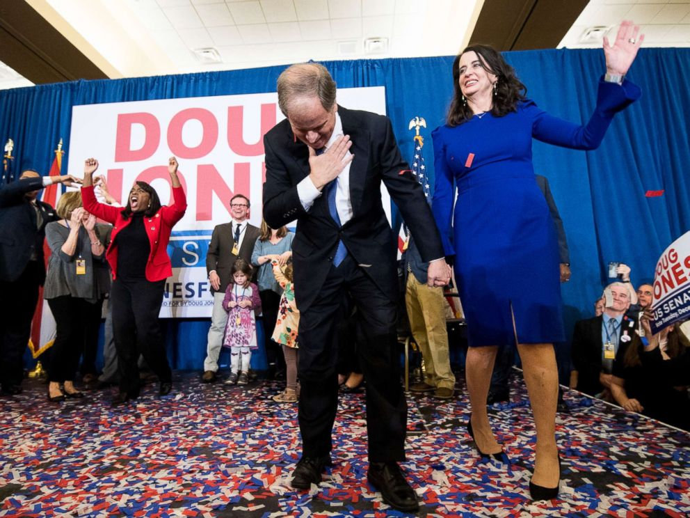 PHOTO: Alabama Senate candidate Doug Jones and his wife celebrate his projected victory over Judge Roy Moore at the Sheraton in Birmingham, Ala., Dec. 12, 2017.