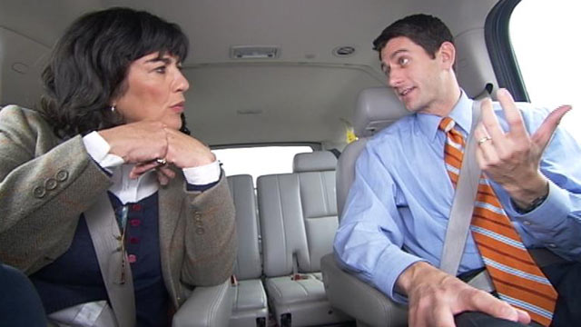 PHOTO: House Budget Committee Chairman Paul Ryan talks with ?This Week? anchor Christiane Amanpour.