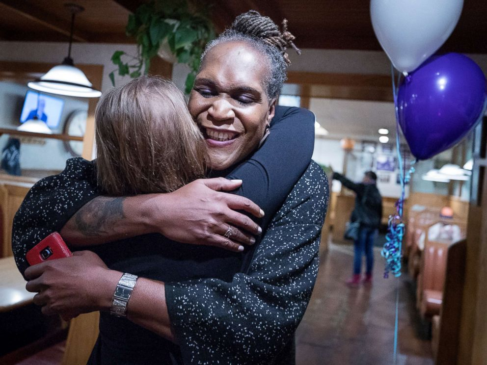PHOTO: Andrea Jenkins hugs a supporter as she won the Minneapolis Ward 8: Council Member race in Minneapolis, Nov. 7, 2017.