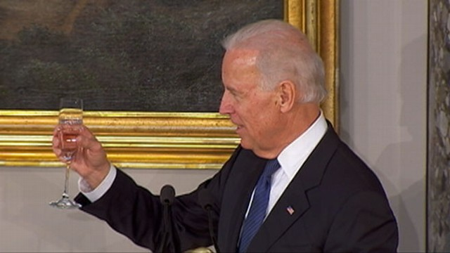 VIDEO: Sen. Schumer appears to be confused over the target of the vice president's toast.