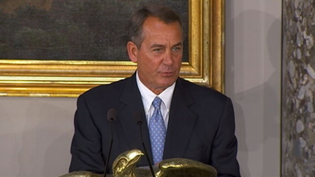 VIDEO: House speaker presents American flags to the president and vice president.