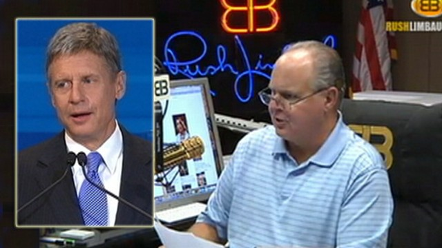 VIDEO: Gary Johnson got laughs at debate with comment earlier made by Rush Limbaugh.
